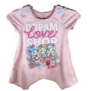 Shopkin Shoppies Girls Pastel Pink Hanky Hem Top
